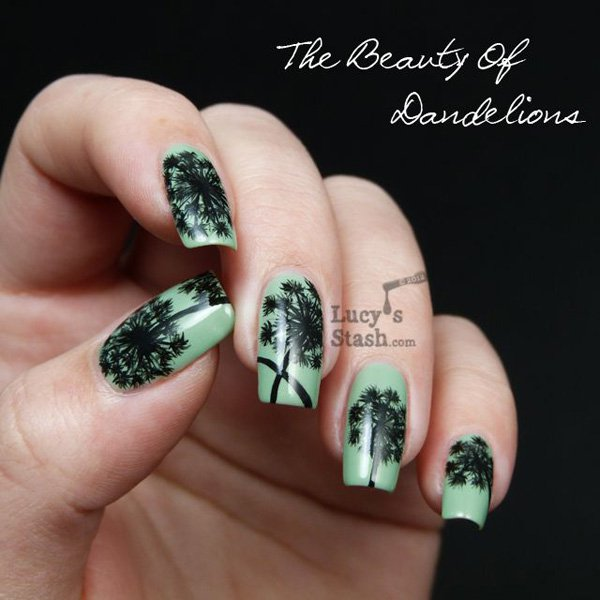 Cute Dandelion Nail Art Designs (20)