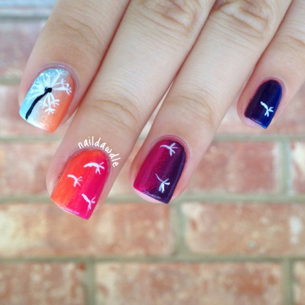 Cute Dandelion Nail Art Designs (23)