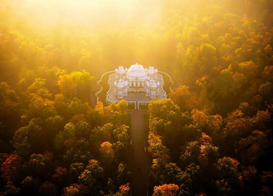 The Hermitage Pavilion, St. Petersburg in autumn mist
