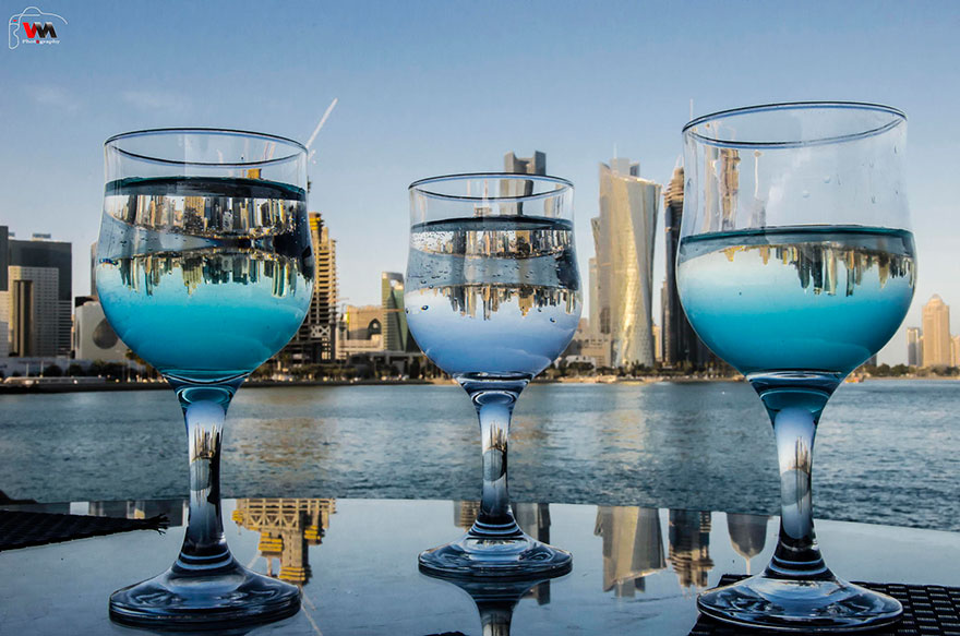 Reflected Skyline Of Doha, Qatar by donyana.com