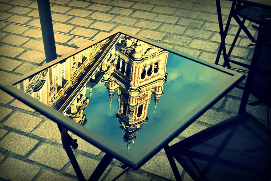 Grand Palace Reflected On Table In Lille, France by elessar91