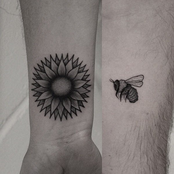7-flower-and-bee-couple-tattoo