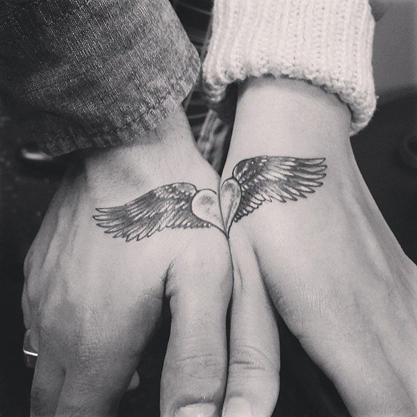 Angel-Winged-Heart-Couple-Tattoo