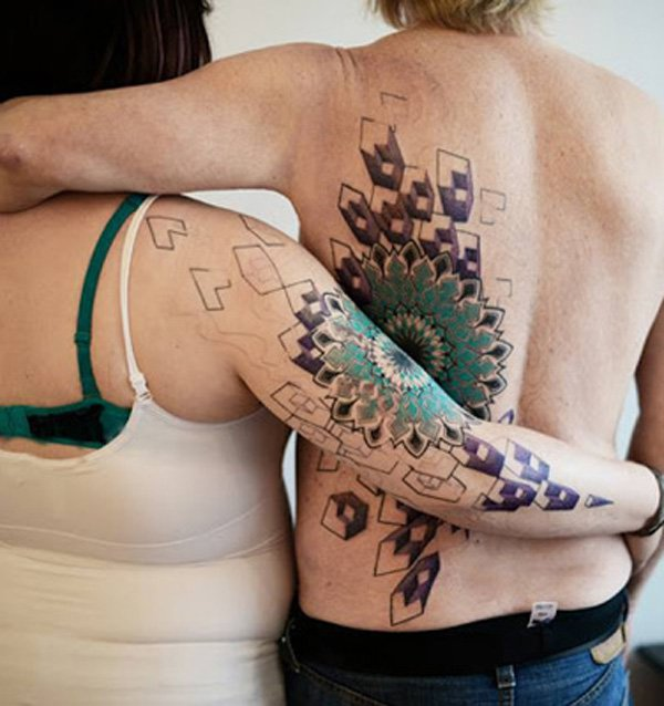 Awesome-3D-couple-tattoo-on-arm-and-back