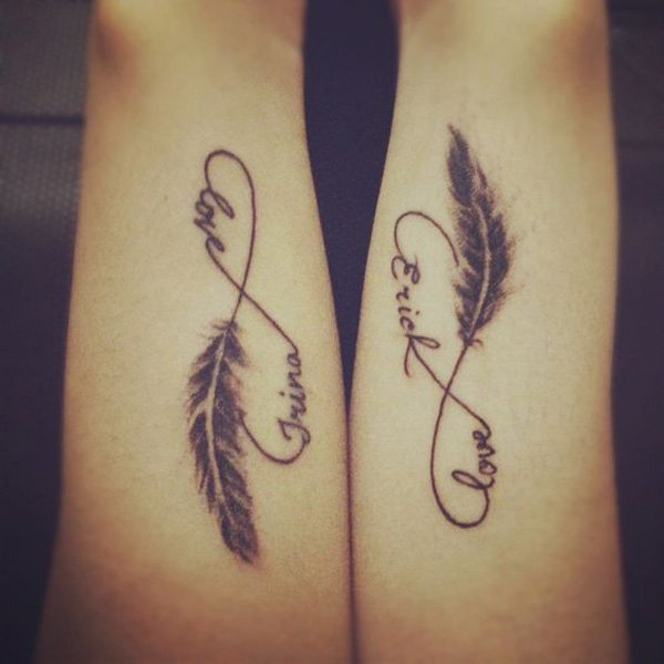Love-feather-infinity-couple-tattoo