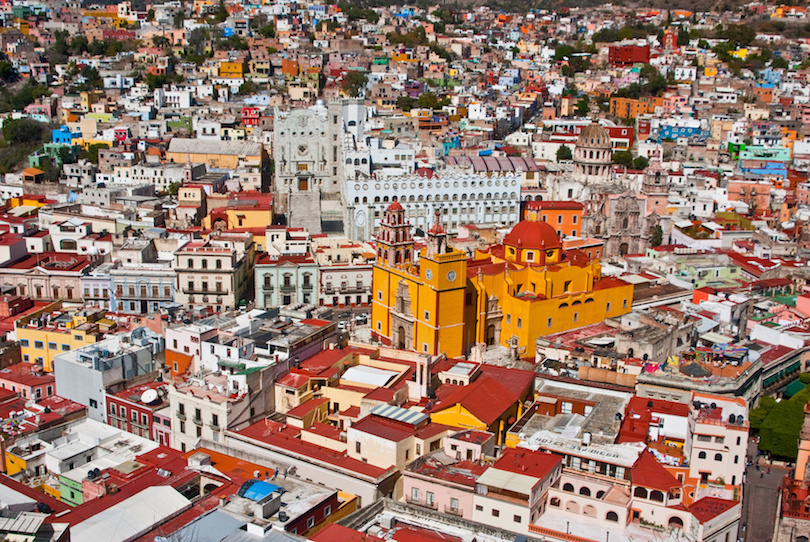 GUANAJUATO, GUANAJUATO/MEXICO - FEBRUARY 19: Guanajuato World Heritage Site, historic city view of 16th century buildings and houses of vivid colors shown on February 19, 2010 in Guanajuato, Mexico.