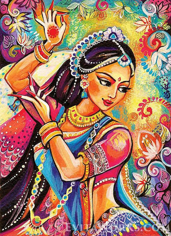 2-indian-paintings-dancer-woman-by-evitaworks