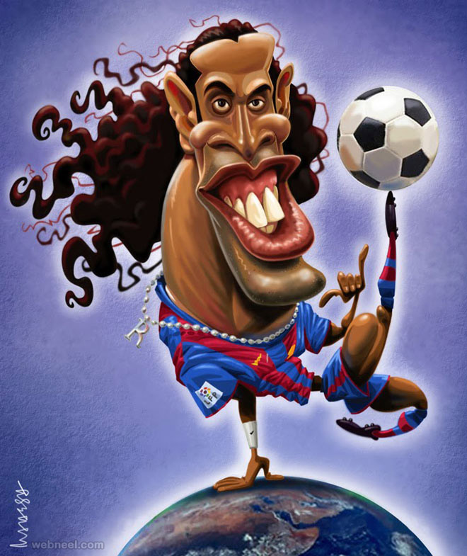2-ronaldinho-gold-caricature-by-mahesh
