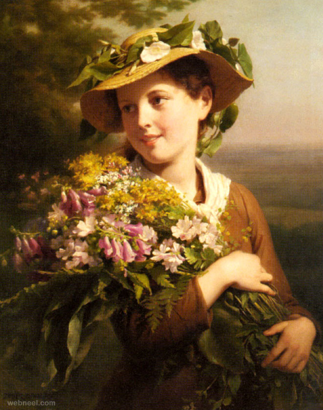27-girl-oil-painting-bouquet