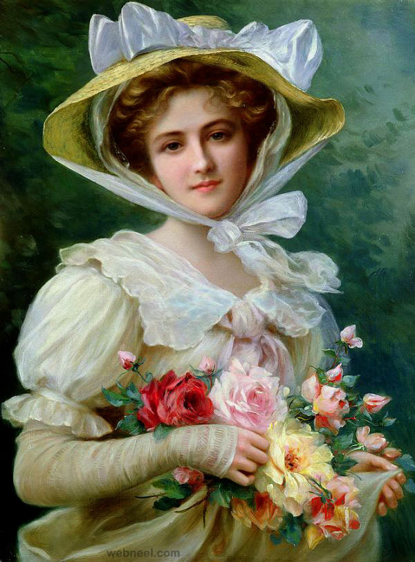 29-bouquet-woman-old-oil-painting