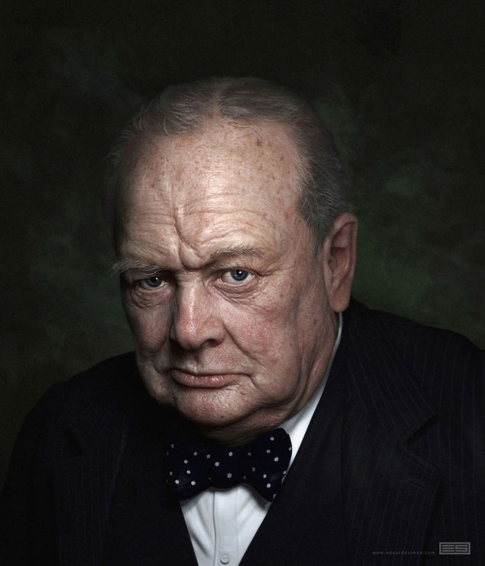 W. Churchill portrait by Eduardo Simon